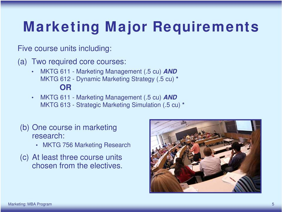 5 cu) * OR MKTG 611 - Marketing Management (.5 cu) AND MKTG 613 - Strategic Marketing Simulation (.