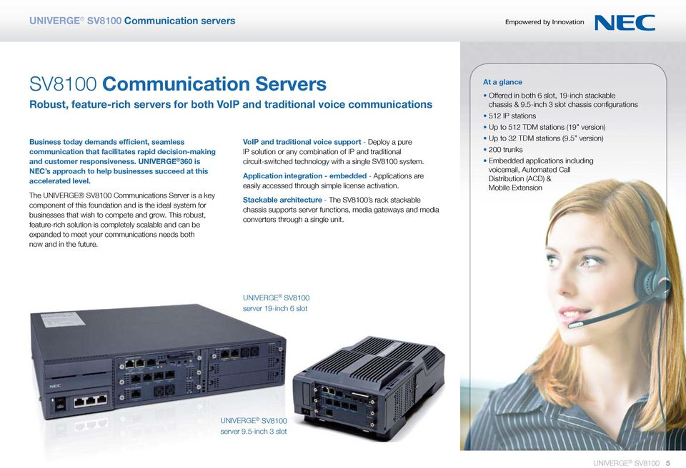The UNIVERGE SV8100 Communications Server is a key component of this foundation and is the ideal system for businesses that wish to compete and grow.
