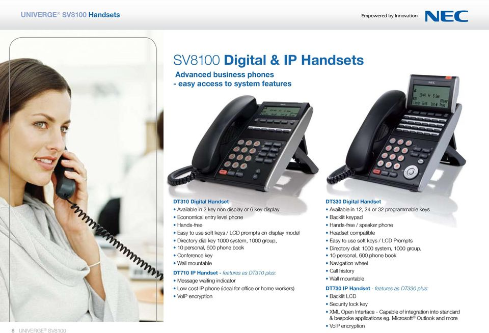 DT710 IP Handset - features as DT310 plus: Message waiting indicator Low cost IP phone (ideal for office or home workers) VoIP encryption DT330 Digital Handset Available in 12, 24 or 32 programmable