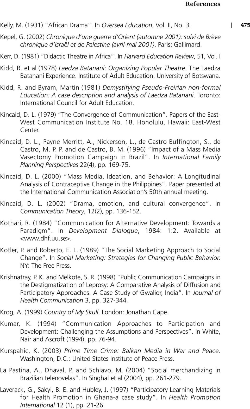 In Harvard Education Review, 51, Vol. I Kidd, R. et al (1978) Laedza Batanani: Organizing Popular Theatre. The Laedza Batanani Experience. Institute of Adult Education. University of Botswana.