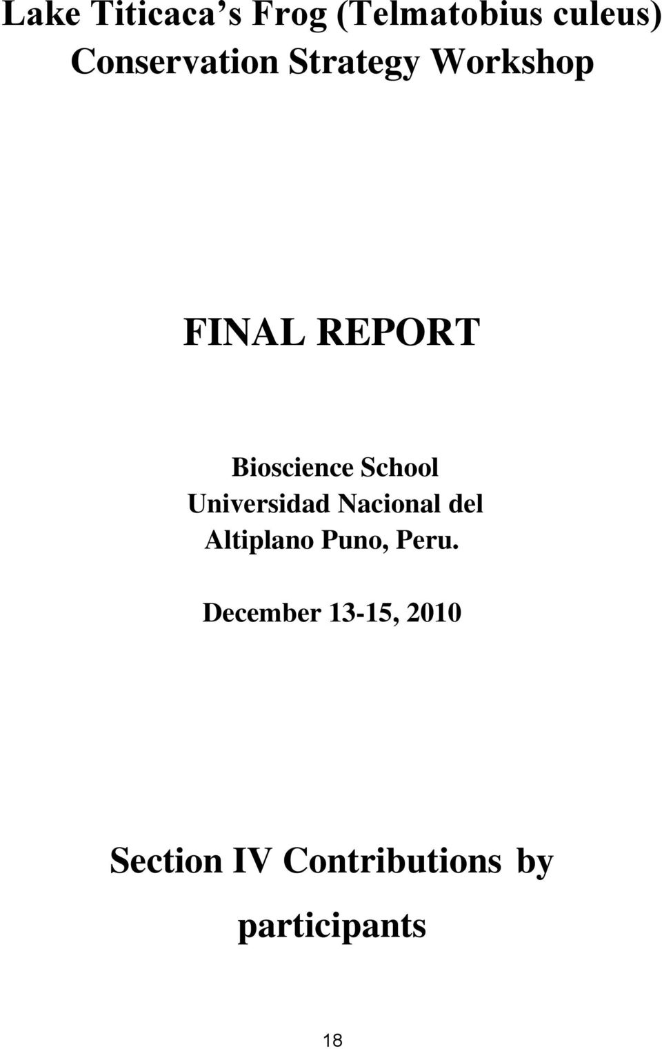 Bioscience School Universidad Nacional del Altiplano