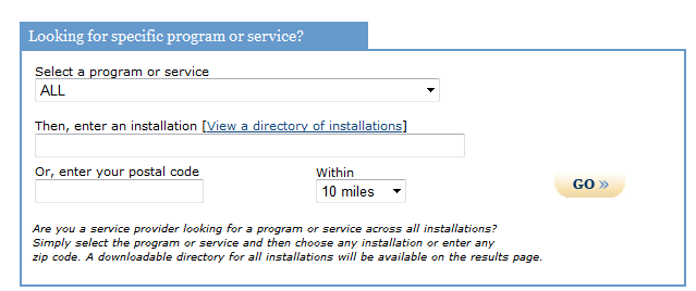 P a g e 17 4. In the Looking for specific program or service? box (shown below), select EFMP-Family Support in the drop down menu under Select a program or service, (Step 4 Arrow). 5.