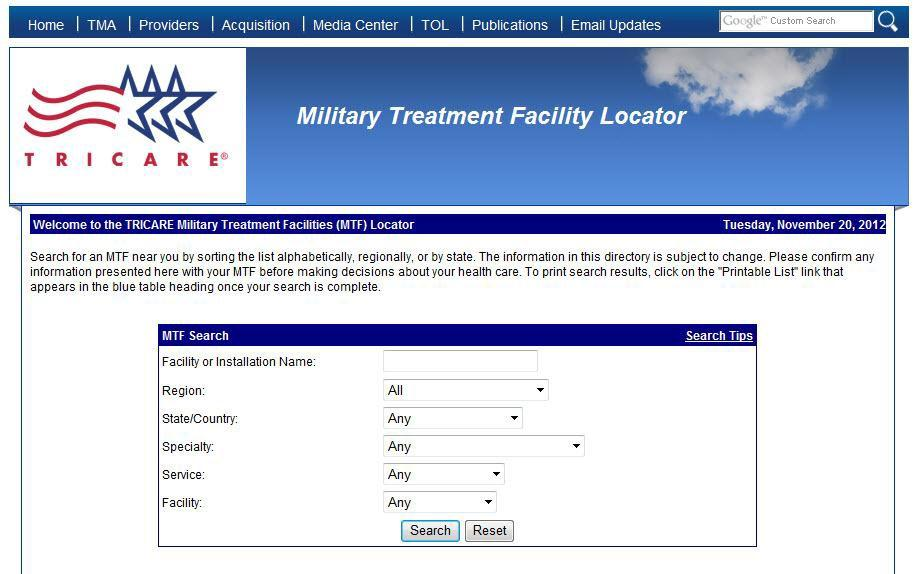P a g e 20 8. This will bring you to the TRICARE Military Treatment Facility (MTF) homepage, displayed below. Locate the MTF Search box (Step 8 Arrow). 9.