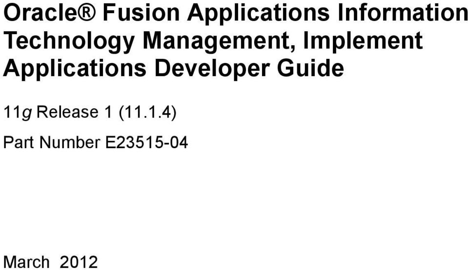 Applications Developer Guide 11g