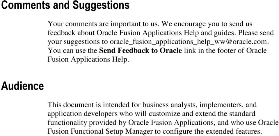 You can use the Send Feedback to Oracle link in the footer of Oracle Fusion Applications Help.