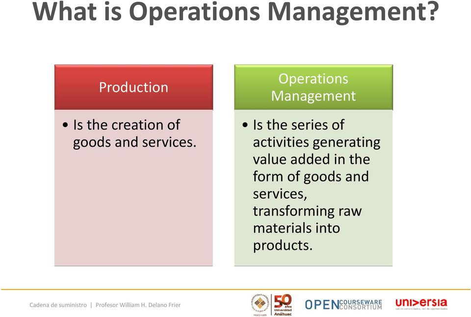 Operations Management Is the series of activities