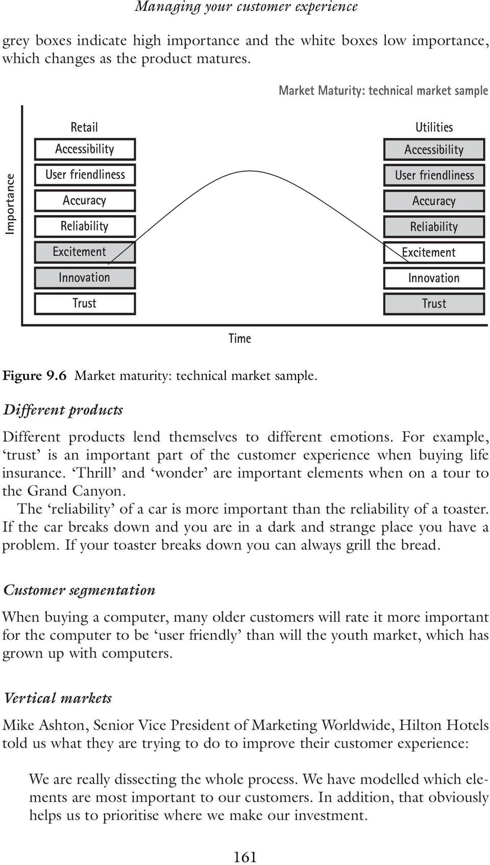 Reliability Excitement Innovation Trust Time Figure 9.6 Market maturity: technical market sample. Different products Different products lend themselves to different emotions.