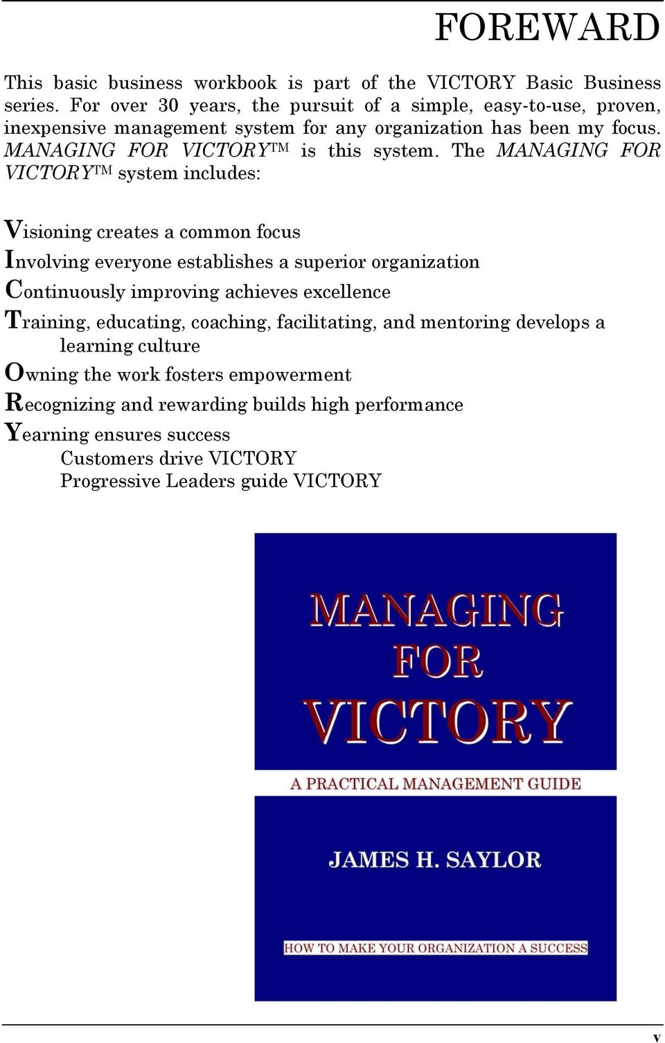 MANAGING FOR VICTORY TM is this system.