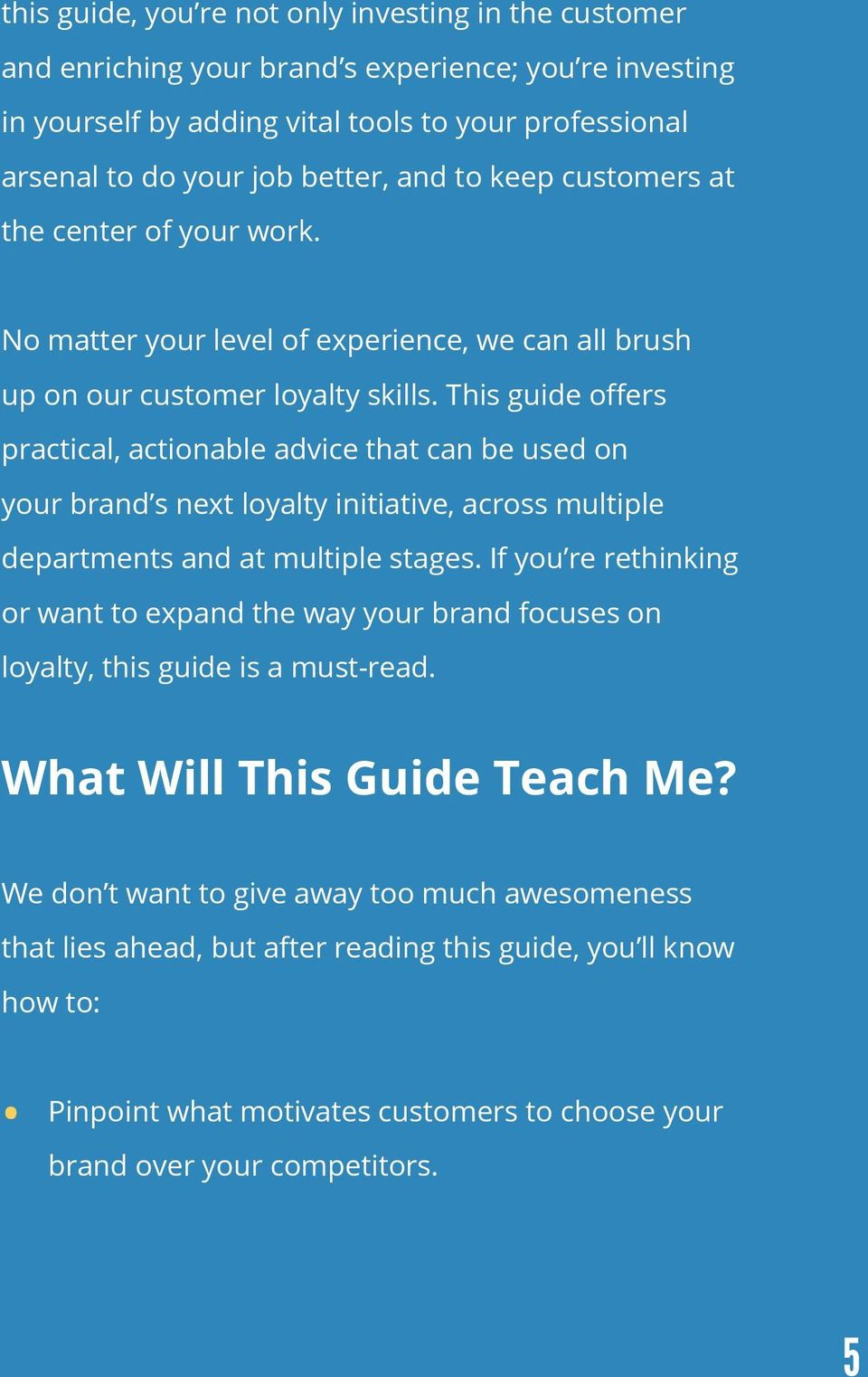 This guide offers practical, actionable advice that can be used on your brand s next loyalty initiative, across multiple departments and at multiple stages.