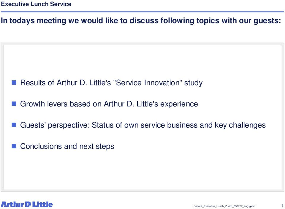 "Little's ""Service Innovation"" study Growth levers based on Arthur D."