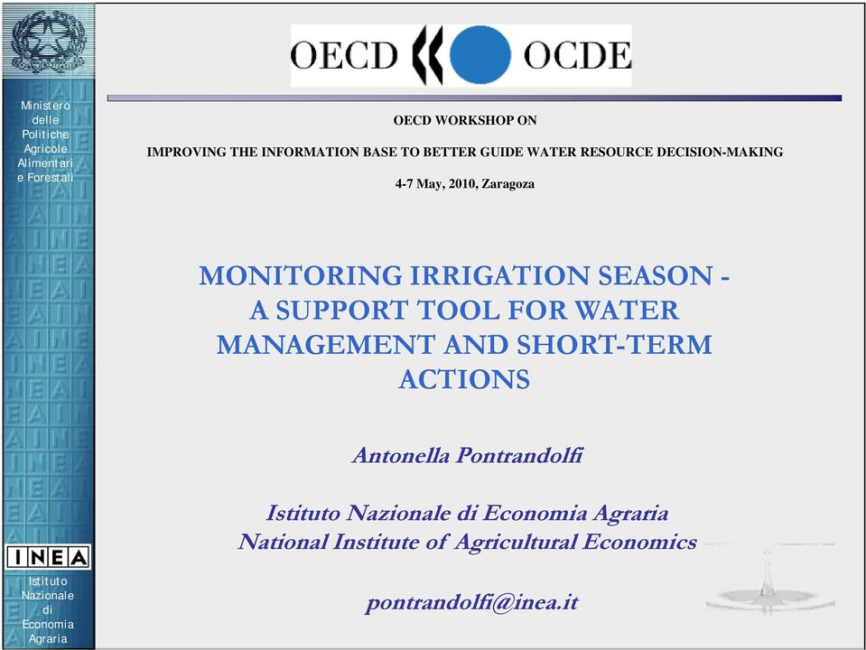 SEASON - A SUPPORT TOOL FOR WATER MANAGEMENT AND SHORT-TERM ACTIONS