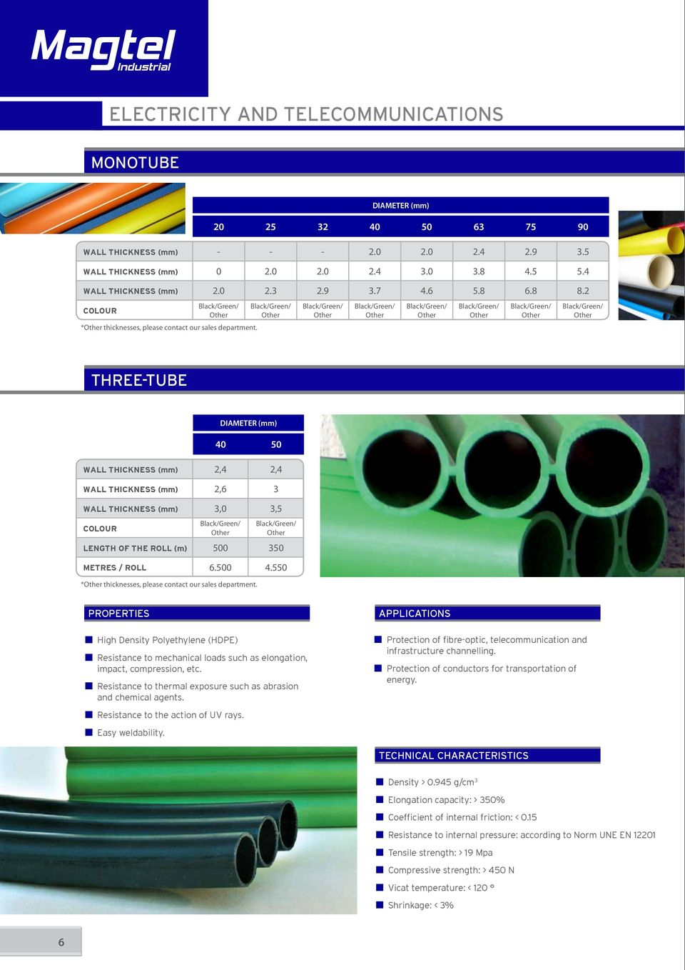 DIAMETER (mm) 20 25 32 40 50 63 75 90 THREE-TUBE WALL THICKNESS (mm) 2,4 2,4 WALL THICKNESS (mm) 2,6 3 WALL THICKNESS (mm) 3,0 3,5 COLOUR DIAMETER (mm) 40 50 LENGTH OF THE ROLL (m) 500 350 METRES /