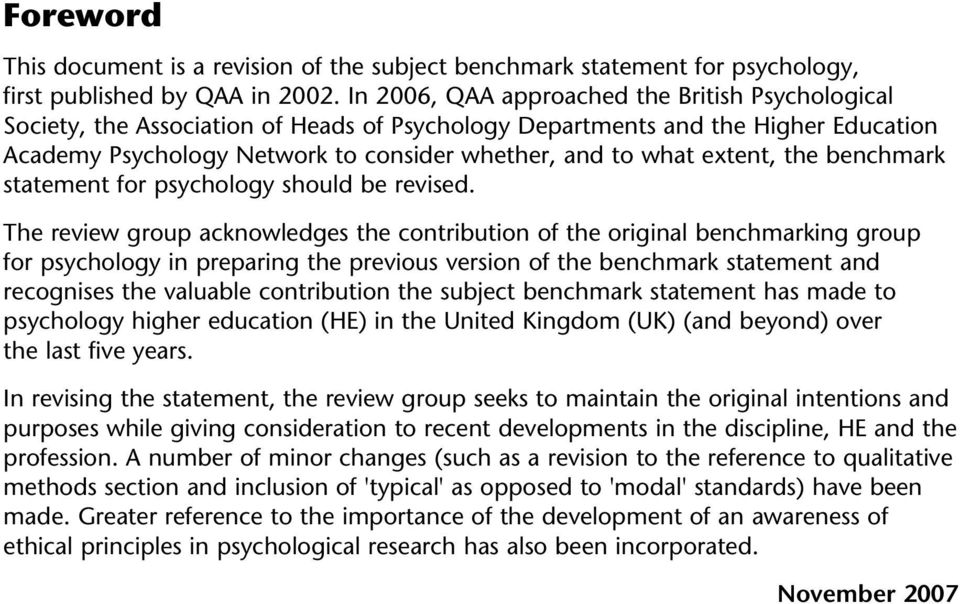 extent, the benchmark statement for psychology should be revised.