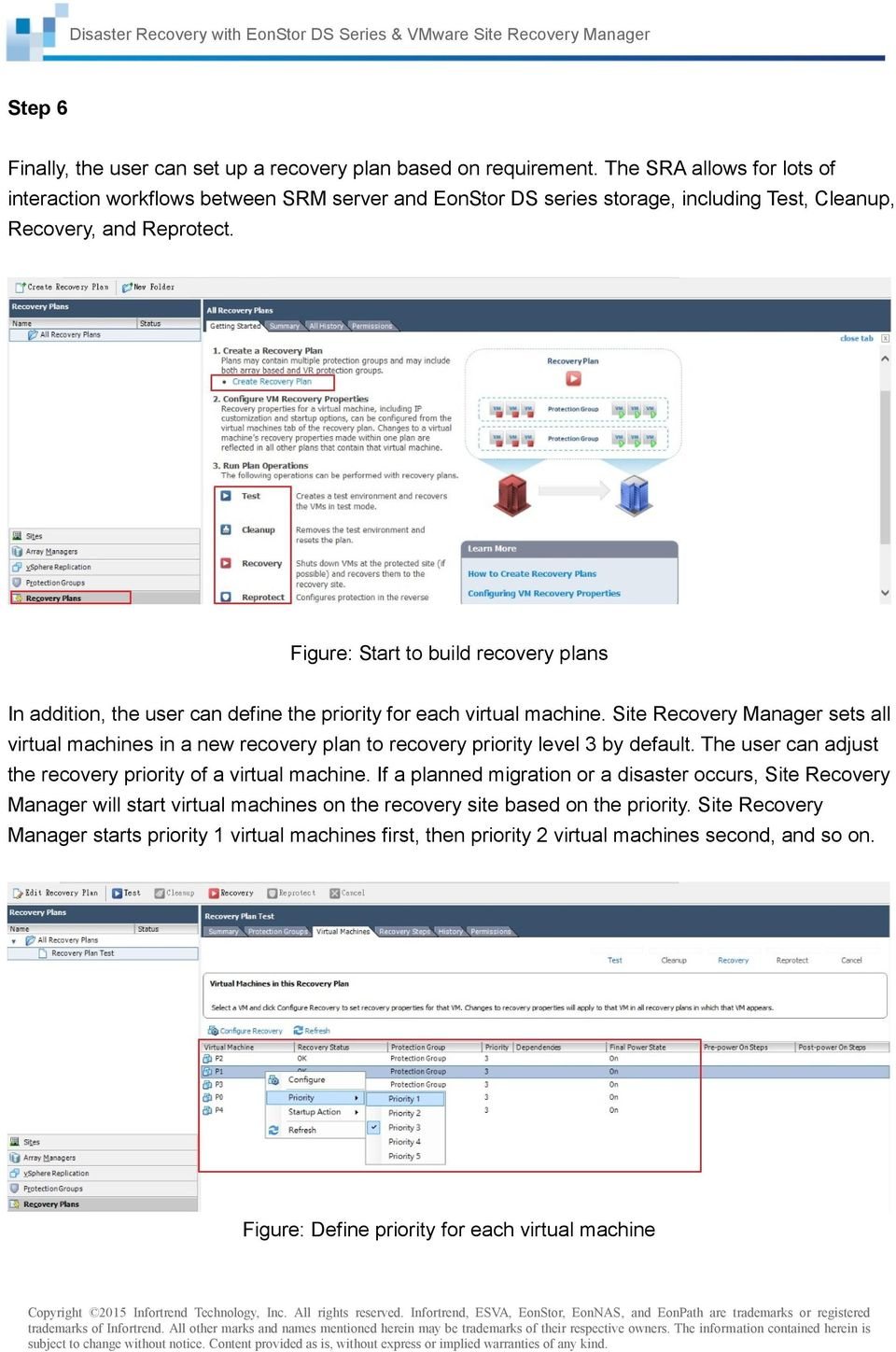 Figure: Start to build recovery plans In addition, the user can define the priority for each virtual machine.