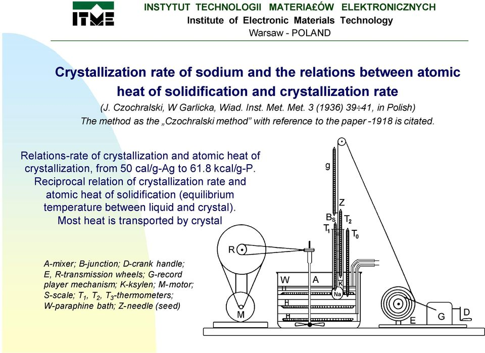 Relations-rate of crystallization and atomic heat of crystallization, from 50 cal/g-ag to 61.8 kcal/g-p.