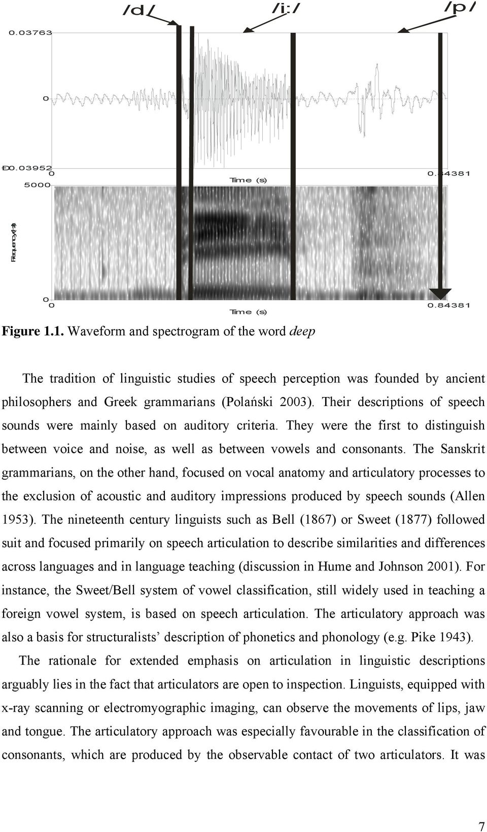 Tim e (s) Figure 1.1. Waveform and spectrogram of the word deep The tradition of linguistic studies of speech perception was founded by ancient philosophers and Greek grammarians (Polański 23).