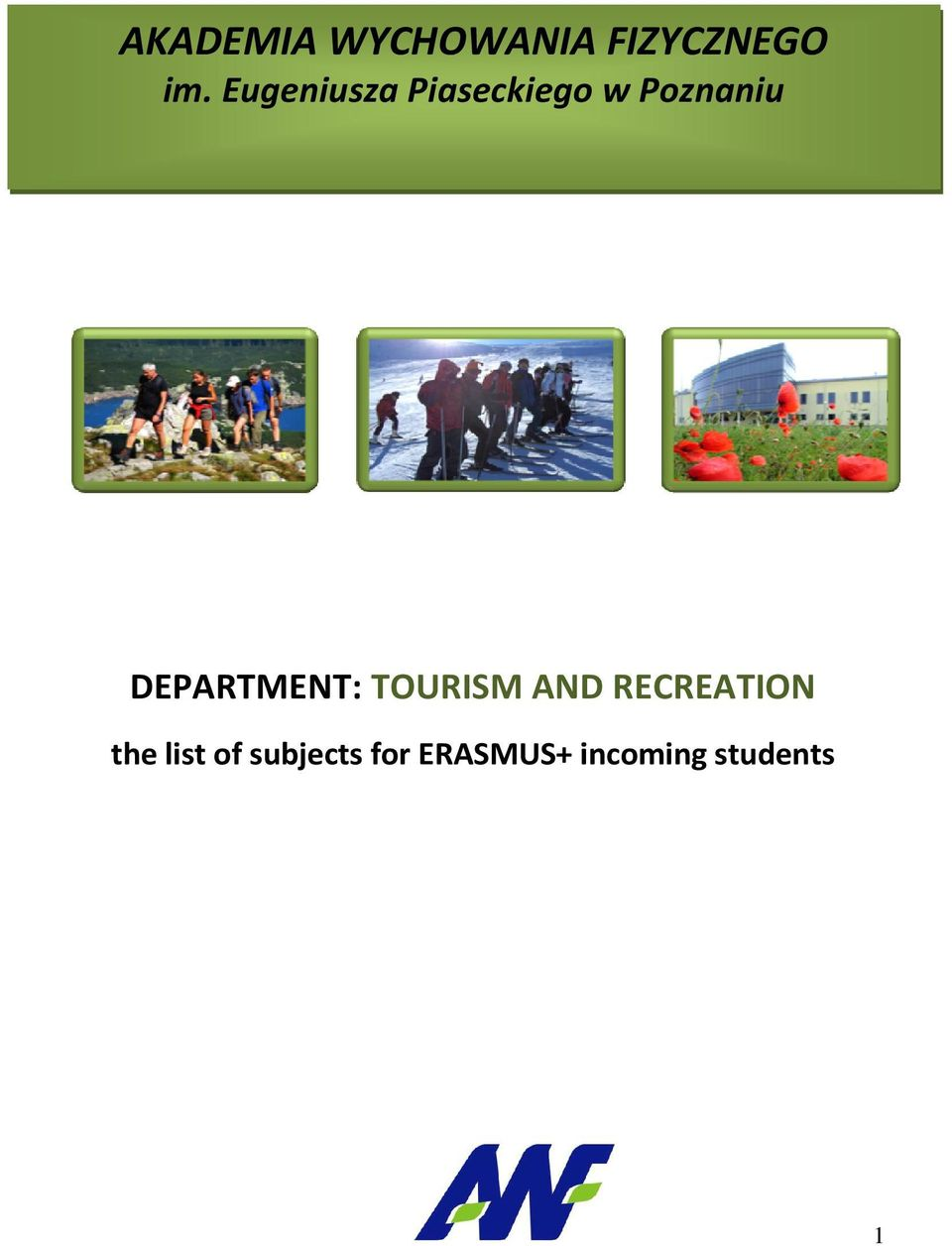 DEPARTMENT: TOURISM AND RECREATION the