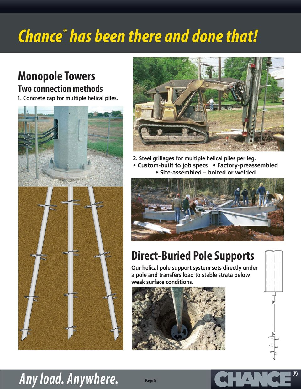 Custom-built to job specs Factory-preassembled Site-assembled bolted or welded Direct-Buried Pole Supports