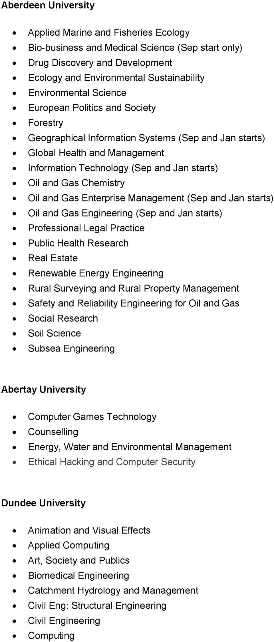 and Gas Enterprise Management (Sep and Jan starts) Oil and Gas Engineering (Sep and Jan starts) Professional Legal Practice Public Health Research Real Estate Renewable Energy Engineering Rural