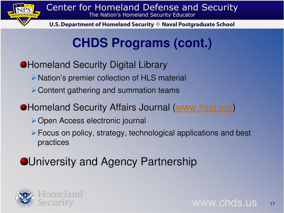 Content gathering and summation teams Homeland Security Affairs Journal (www.hsaj.