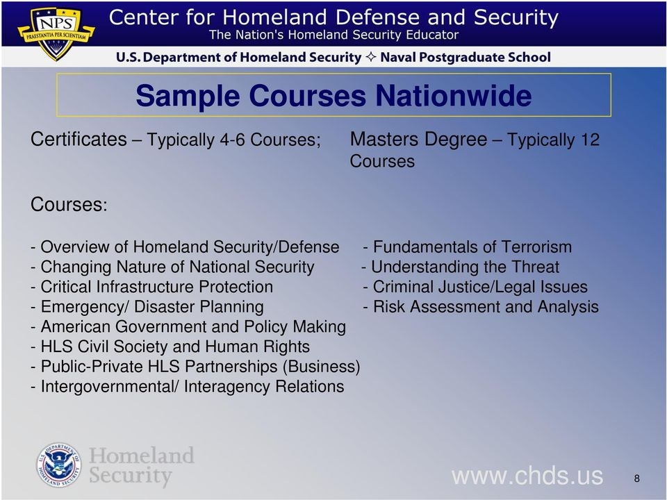 Infrastructure Protection - Criminal Justice/Legal Issues - Emergency/ Disaster Planning - Risk Assessment and Analysis - American