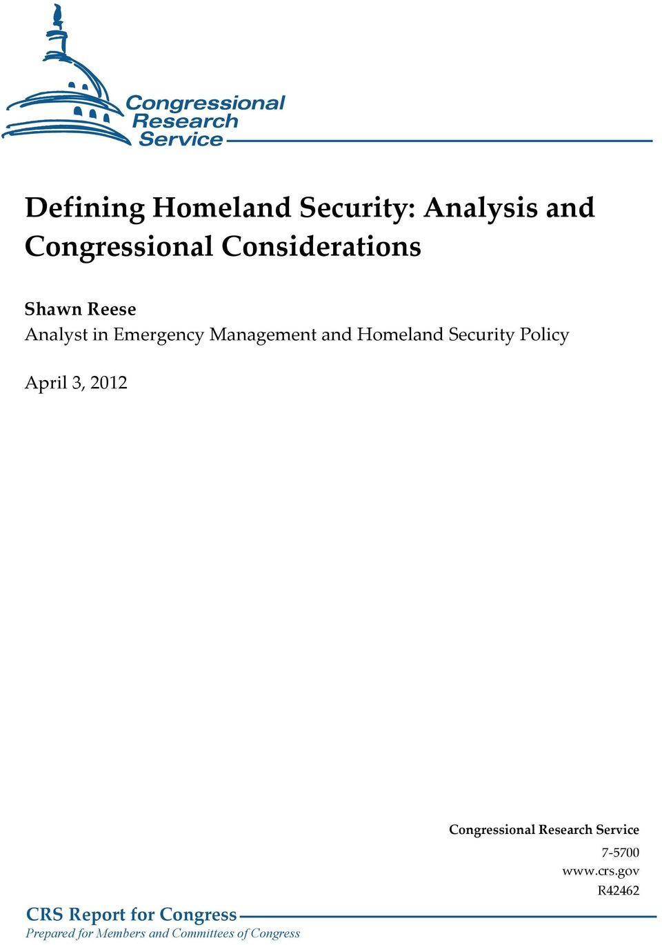 Policy April 3, 2012 CRS Report for Congress Prepared for Members and