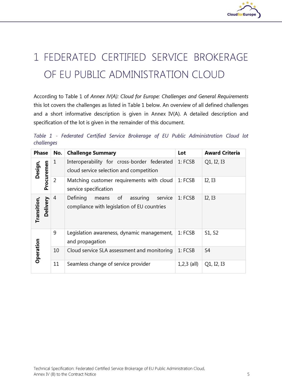 A detailed description and specification of the lot is given in the remainder of this document. Table 1 - Federated Certified Service Brokerage of EU Public Administration lot challenges Phase No.