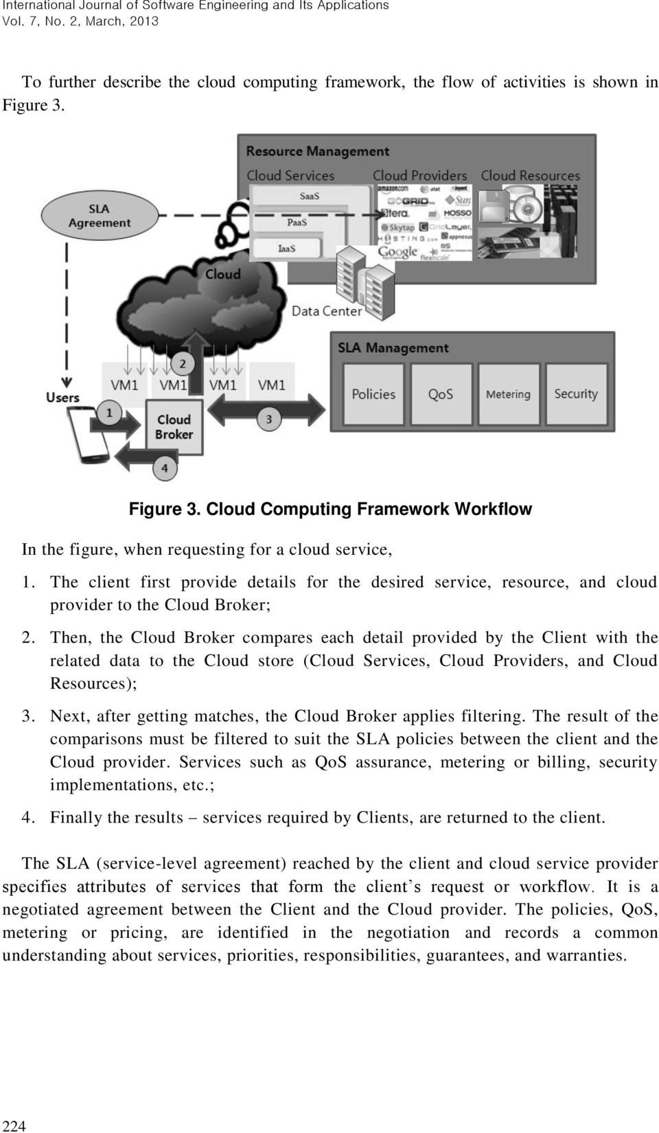 Then, the Cloud Broker compares each detail provided by the Client with the related data to the Cloud store (Cloud Services, Cloud Providers, and Cloud Resources); 3.