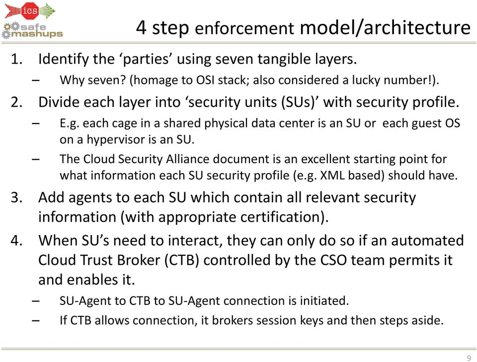 The CloudSecurity Alliance document is anexcellent starting point for what information each SU security profile (e.g. XML based) should have. 3.