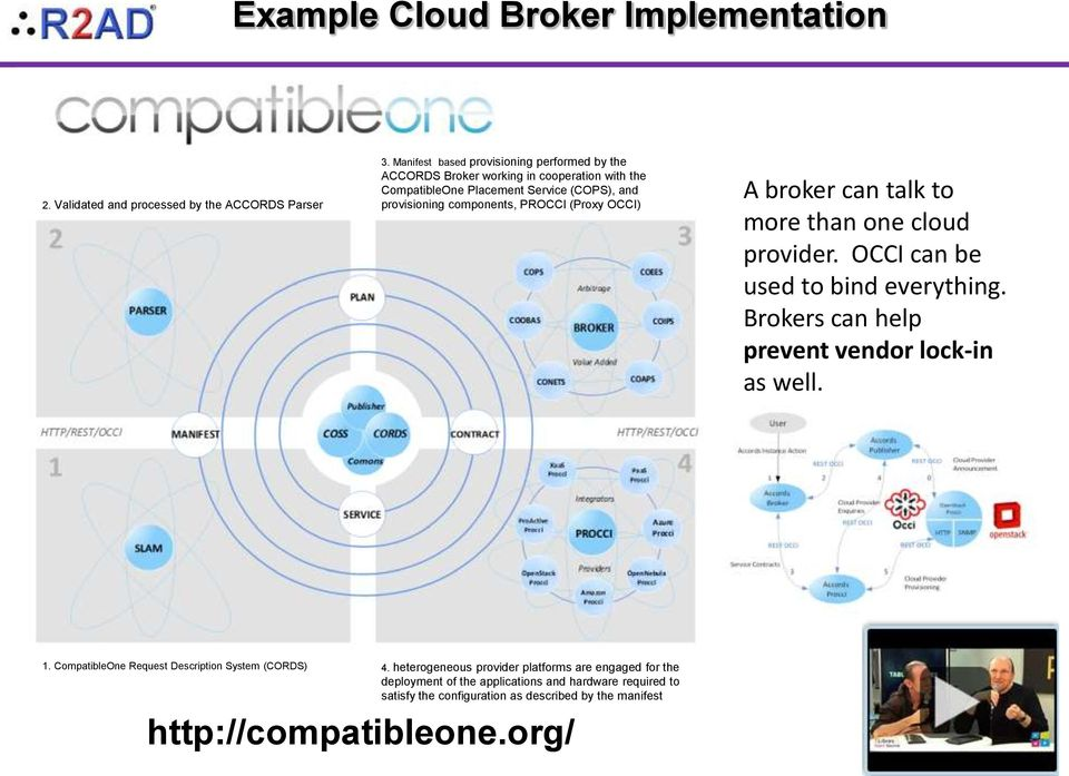 PROCCI (Proxy OCCI) A broker can talk to more than one cloud provider. OCCI can be used to bind everything. Brokers can help prevent vendor lock-in as well. 1.