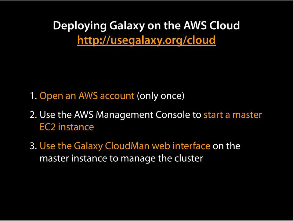 Use the AWS Management Console to start a master EC2 instance