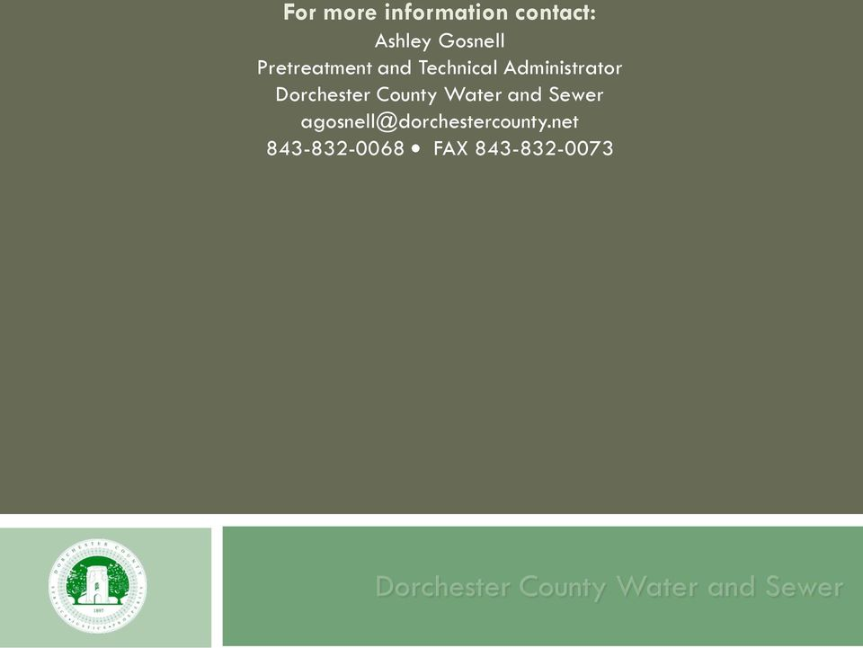 Dorchester County Water and Sewer