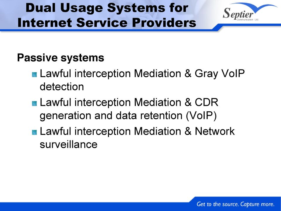 Lawful interception Mediation & CDR generation and data