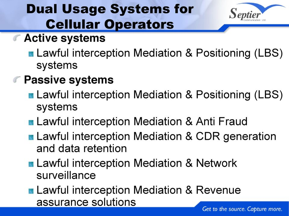 Lawful interception Mediation & Positioning (LBS) systems Lawful interception Mediation & Anti Fraud