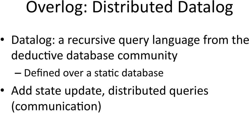database community Defined over a stamc