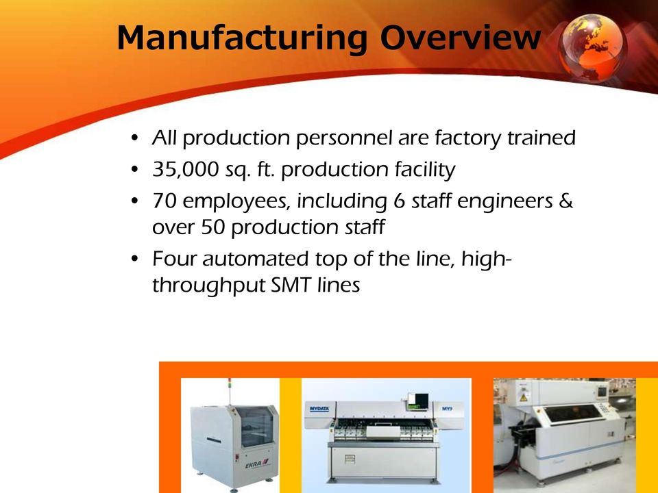 production facility 70 employees, including 6 staff