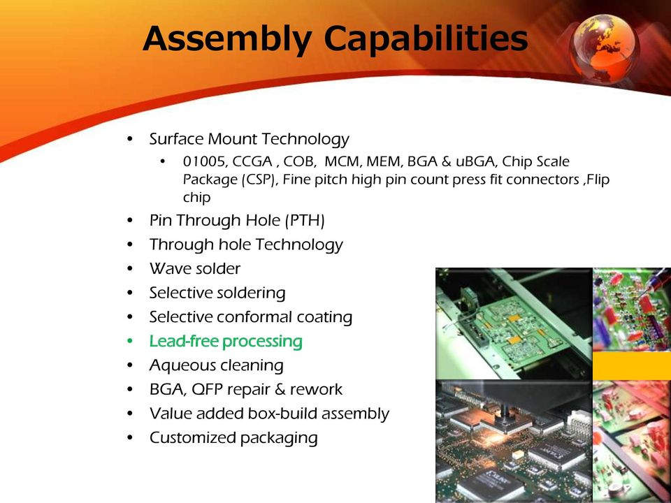Through hole Technology Wave solder Selective soldering Selective conformal coating Lead-free