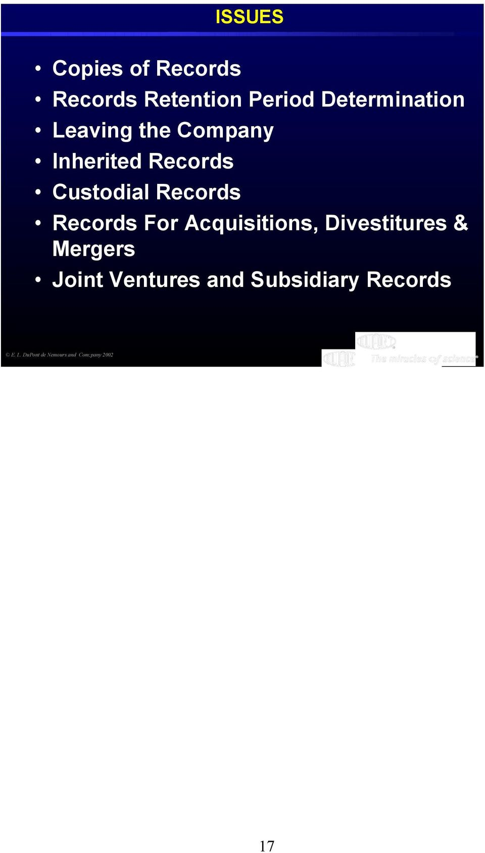 Records Records For Acquisitions, Divestitures & Mergers Joint
