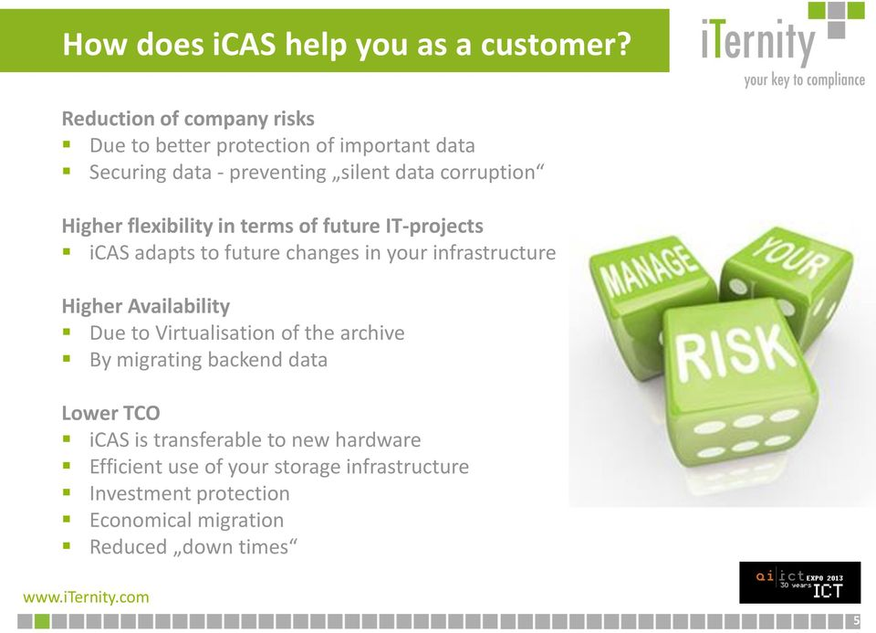 Higher flexibility in terms of future IT-projects icas adapts to future changes in your infrastructure Higher Availability