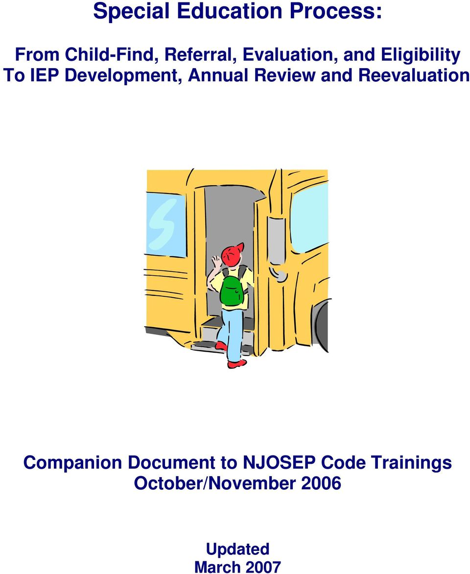 Review and Reevaluation Companion Document to NJOSEP