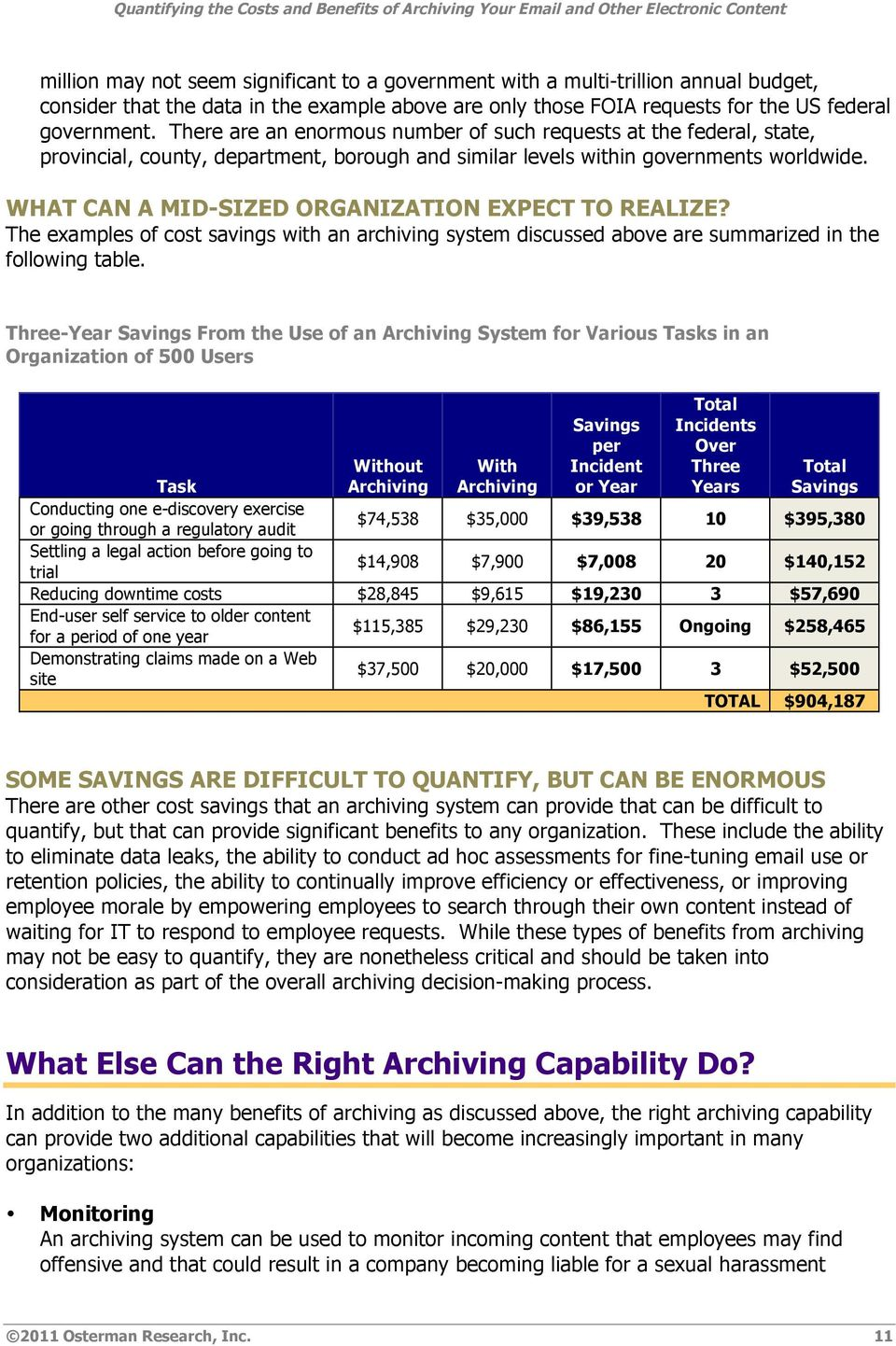 WHAT CAN A MID-SIZED ORGANIZATION EXPECT TO REALIZE? The examples of cost savings with an archiving system discussed above are summarized in the following table.