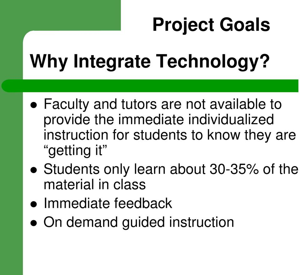 individualized instruction for students to know they are getting it