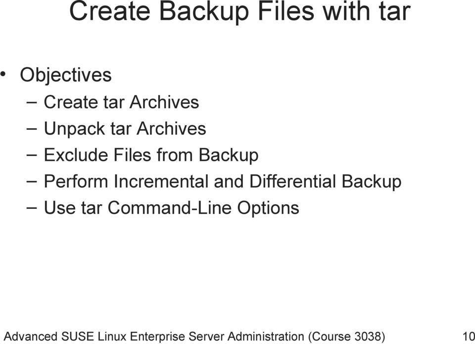 Incremental and Differential Backup Use tar Command-Line