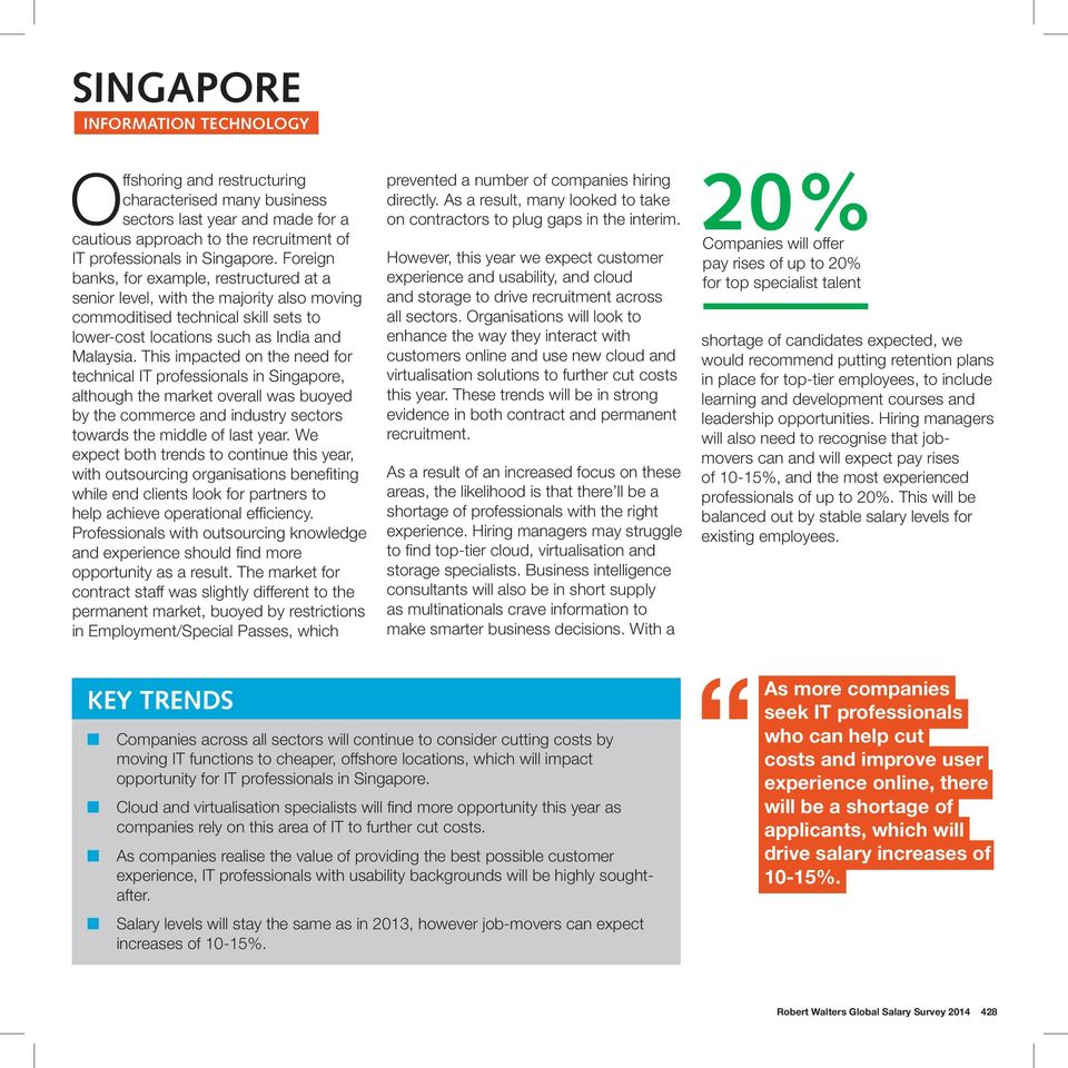 This impacted on the need for technical IT professionals in Singapore, although the market overall was buoyed by the commerce and industry sectors towards the middle of last year.