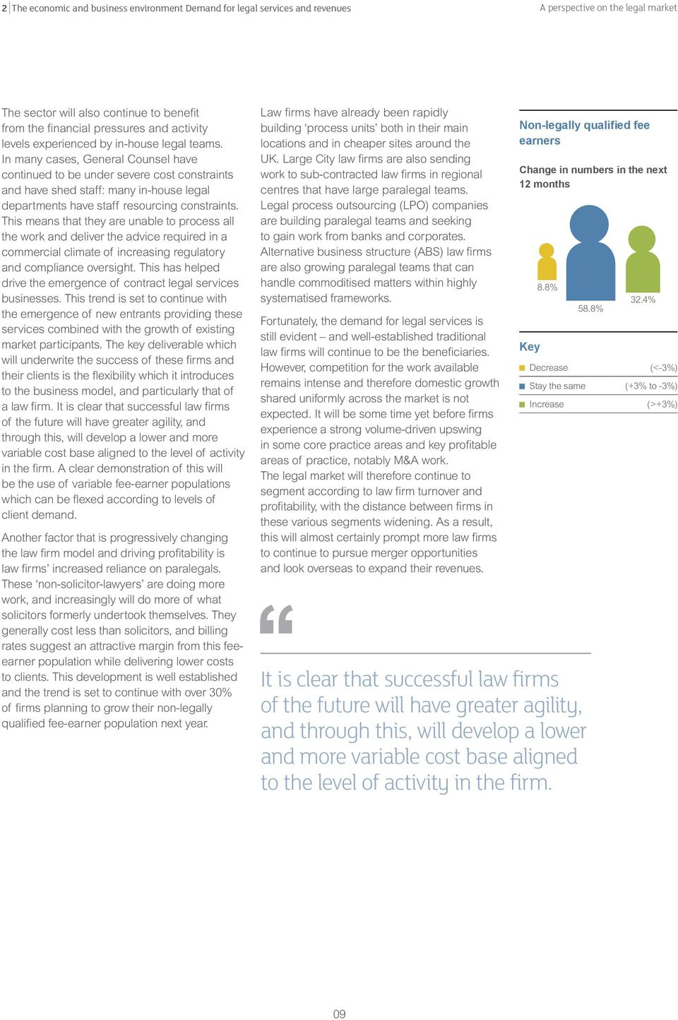 In many cases, General Counsel have continued to be under severe cost constraints and have shed staff: many in-house legal departments have staff resourcing constraints.