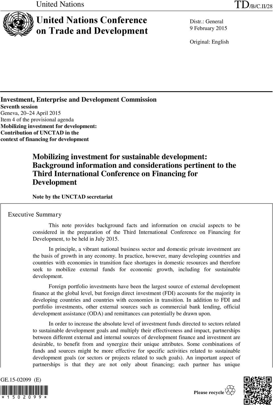 context of financing for development Mobilizing investment for sustainable development: Background information and considerations pertinent to the Third International Conference on Financing for