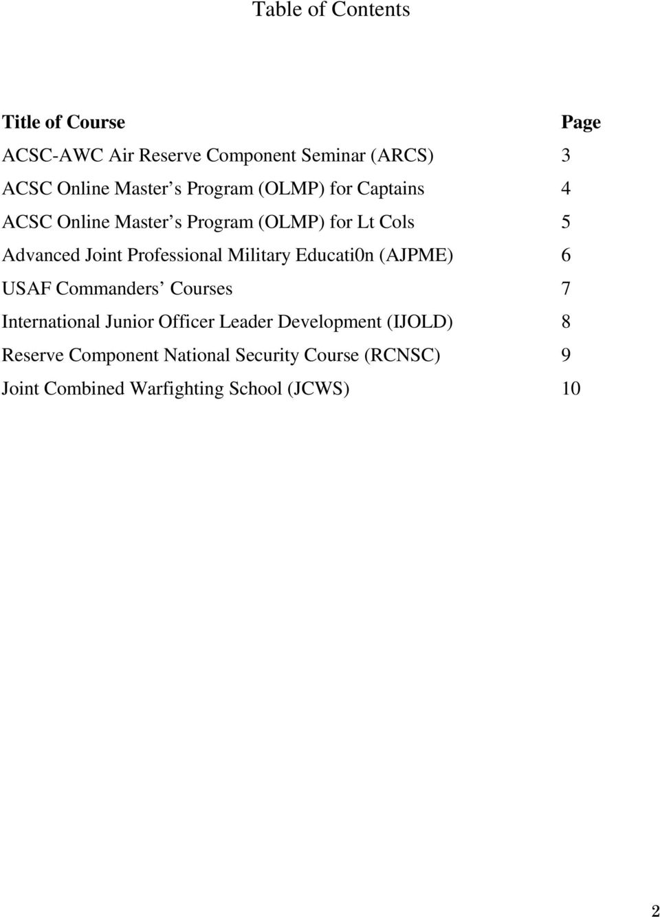 Professional Military Educati0n (AJPME) 6 USAF Commanders Courses 7 International Junior Officer Leader