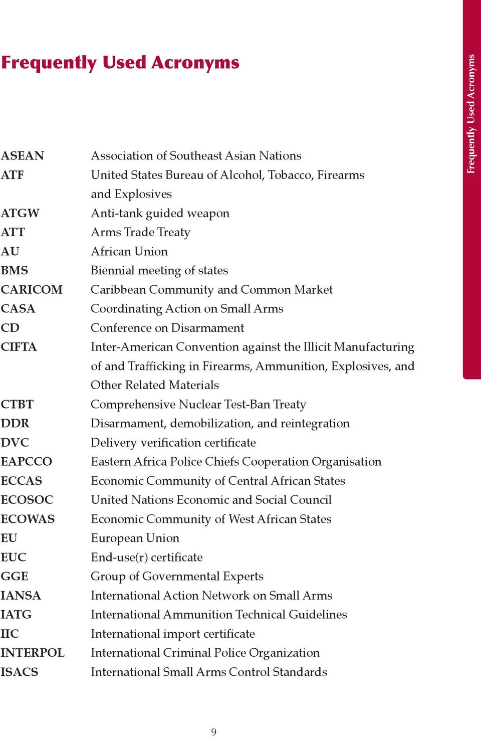 the Illicit Manufacturing of and Trafficking in Firearms, Ammunition, Explosives, and Other Related Materials CTBT Comprehensive Nuclear Test-Ban Treaty DDR Disarmament, demobilization, and