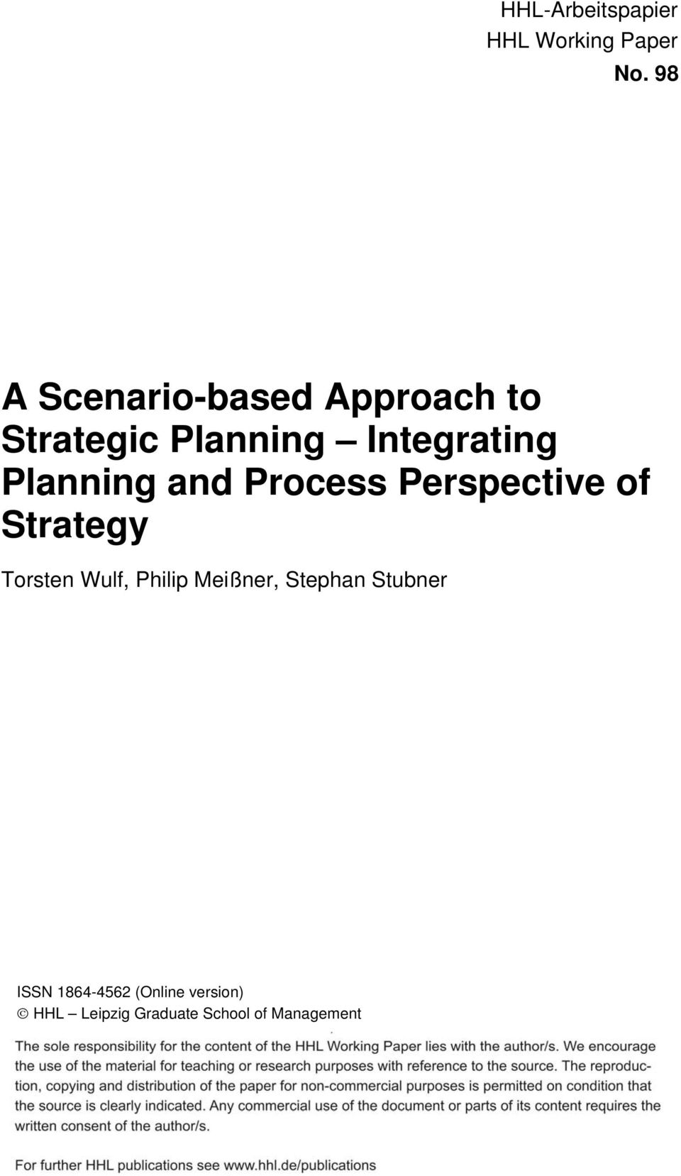 Planning and Process Perspective of Strategy Torsten Wulf, Philip