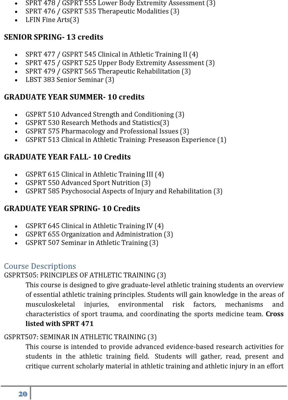 Strength and Conditioning (3) GSPRT 530 Research Methods and Statistics(3) GSPRT 575 Pharmacology and Professional Issues (3) GSPRT 513 Clinical in Athletic Training: Preseason Experience (1)